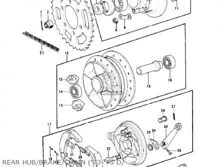 Kawasaki Kh500a8 1976 Canada Rear Hub brake chain 73-75 D