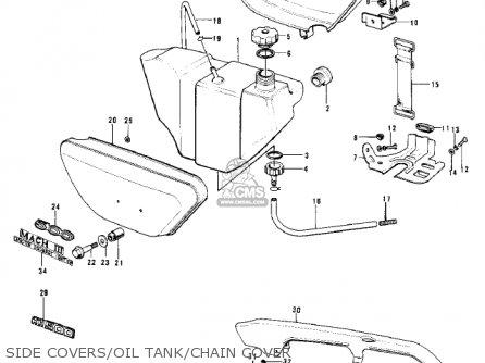 Kawasaki Kh500a8 1976 Canada Side Covers oil Tank chain Cover