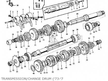 Kawasaki Kh500a8 1976 Canada Transmission change Drum 73-7