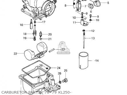 Kawasaki Kl250a2 Klr250 1979 Canada Carburetor Parts 78-79 Kl250-