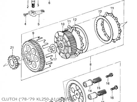Kawasaki Kl250a2 Klr250 1979 Canada Clutch 78-79 Kl250-a1 a1a a2