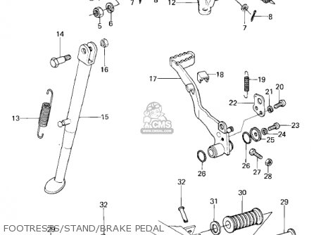 Kawasaki Kl250a2 Klr250 1979 Canada Footrests stand brake Pedal
