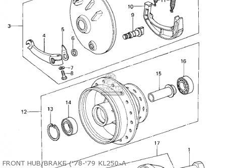Kawasaki Kl250a2 Klr250 1979 Canada Front Hub brake 78-79 Kl250-a