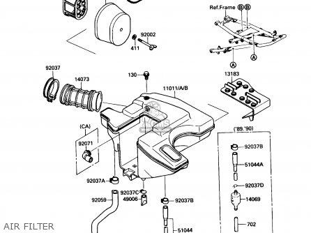 Kawasaki Kl650-a3 Klr650 1989 Usa California Canada Air Filter