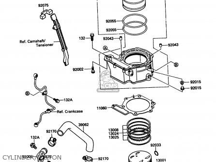 Kawasaki Kl650-a3 Klr650 1989 Usa California Canada Cylinder piston