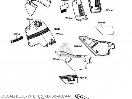 Kawasaki Kl650-a3 Klr650 1989 Usa California Canada Decalblue whitekl650-a3 a4