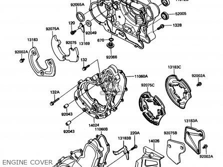 Kawasaki Kl650-a3 Klr650 1989 Usa California Canada Engine Cover