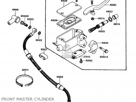 Kawasaki Kl650-a3 Klr650 1989 Usa California Canada Front Master Cylinder