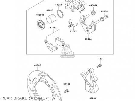 kawasaki kl650a15 klr650 2001 usa california canada parts lists and KLR 650 Custom rear brake a15 a17
