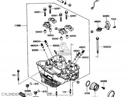 Kawasaki Kl650a3 Klr650 1989 Usa California Canada Cylinder Head