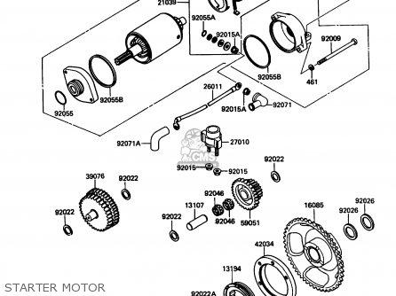Kawasaki Kl650a3 Klr650 1989 Usa California Canada Starter Motor