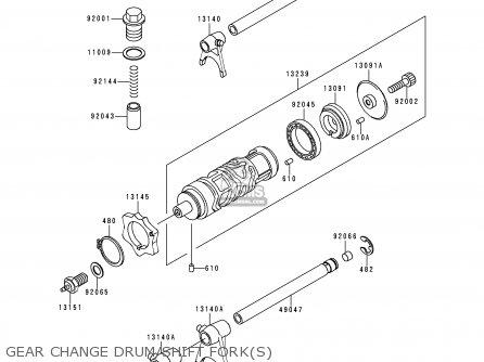 Kawasaki Kle250-a3 1997 Greece Gear Change Drum shift Forks