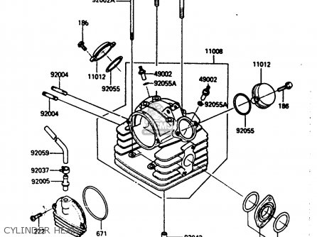 Kawasaki Klf185-a1 Bayou185 1985 Cylinder Head