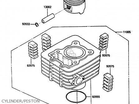 Kawasaki Klf185-a1 Bayou185 1985 Cylinder piston