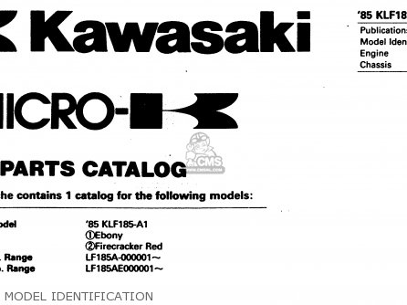 Kawasaki Klf185-a1 Bayou185 1985 Model Identification
