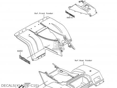 Kawasaki Klf300 C10 Klf3004x4 1998 Europe Uk As Parts Lists And