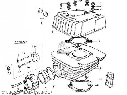 CYLINDER HEAD/CYLINDER - KM100-A4 1979 USA CANADA / MPH KPH