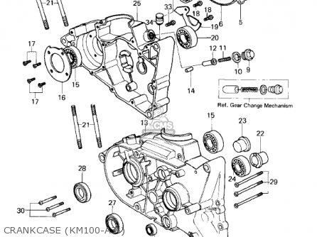 Kawasaki Km100-a4 1979 Usa Canada   Mph Kph Crankcase km100-a3-
