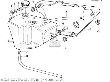Kawasaki Km100-a4 1979 Usa Canada   Mph Kph Side Cover oil Tank km100-a1-a4