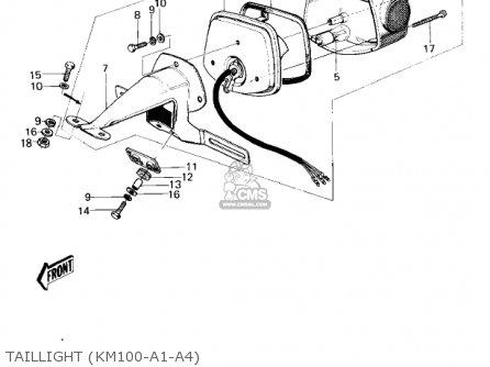 Kawasaki Km100-a4 1979 Usa Canada   Mph Kph Taillight km100-a1-a4