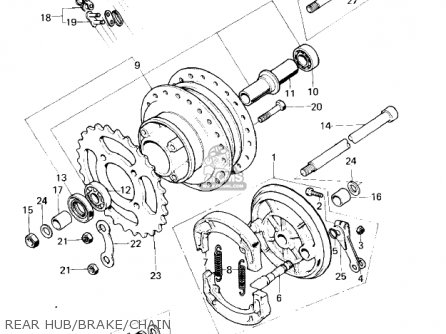 Kawasaki Km100-a4 1979   Mph Kph Rear Hub brake chain
