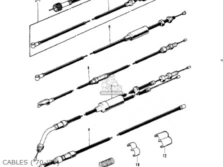 Kawasaki Kv100-a7 1976 Usa California Cables 70-73