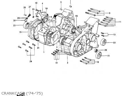 Kawasaki Kv100-a7 1976 Usa California Crankcase 74-75