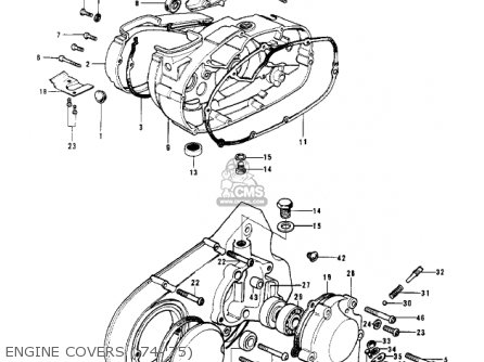 Kawasaki Kv100-a7 1976 Usa California Engine Covers 74-75