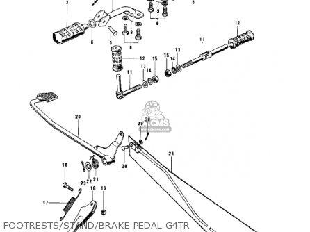 Kawasaki Kv100-a7 1976 Usa California Footrests stand brake Pedal G4tr