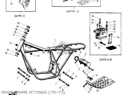 Kawasaki Kv100-a7 1976 Usa California Frame frame Fittings 70-73