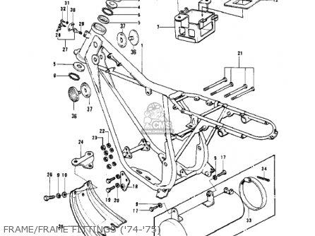 Kawasaki Kv100-a7 1976 Usa California Frame frame Fittings 74-75