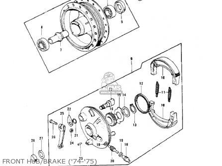 Kawasaki Kv100-a7 1976 Usa California Front Hub brake 74-75