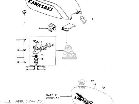 Kawasaki Kv100-a7 1976 Usa California Fuel Tank 74-75