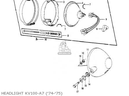 Kawasaki Kv100-a7 1976 Usa California Headlight Kv100-a7 74-75
