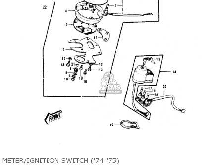 Kawasaki Kv100-a7 1976 Usa California Meter ignition Switch 74-75