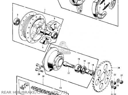 Kawasaki Kv100-a7 1976 Usa California Rear Hub brake chain 70-73