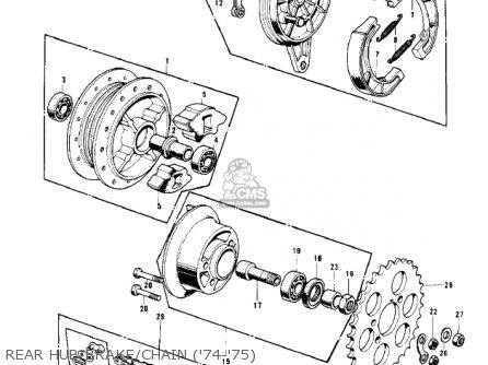 Kawasaki Kv100-a7 1976 Usa California Rear Hub brake chain 74-75