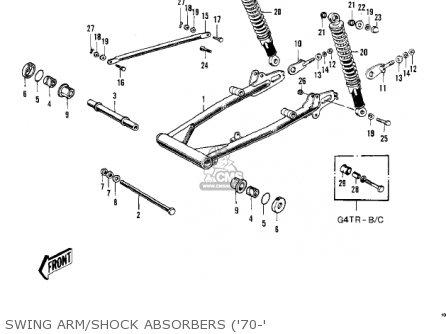 Kawasaki Kv100-a7 1976 Usa California Swing Arm shock Absorbers 70-