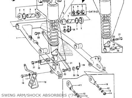 Kawasaki Kv100-a7 1976 Usa California Swing Arm shock Absorbers 74-