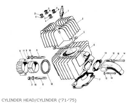 Kawasaki Kv75a5 1976 Cylinder Head cylinder 71-75