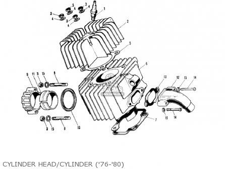 Kawasaki Kv75a5 1976 Cylinder Head cylinder 76-80