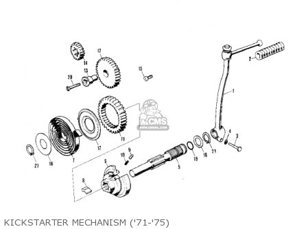 Kawasaki Kv75a5 1976 Kickstarter Mechanism 71-75