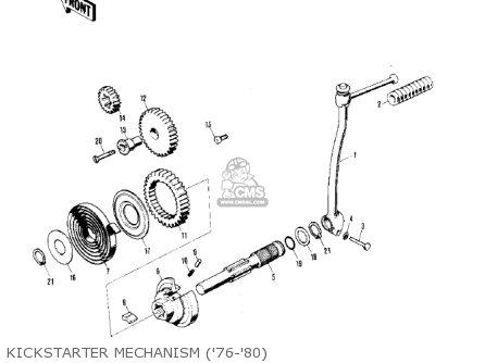 Kawasaki Kv75a5 1976 Kickstarter Mechanism 76-80