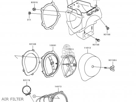 Diagram Of Kawasaki Motorcycle Parts 1992 Kx125j1 Kx125 Engine Cover