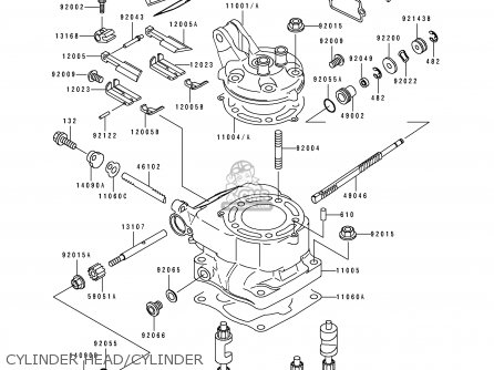 CYLINDER HEAD/CYLINDER - KX125-J2 1993 EUROPE AS