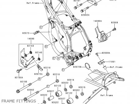 Kawasaki Kx250-l1 1999 Europe Fr As Frame Fittings