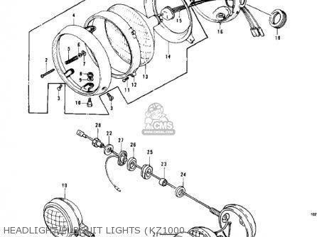 Kawasaki Kz1000-c4 Police1000 1981 Headlight pursuit Lights kz1000