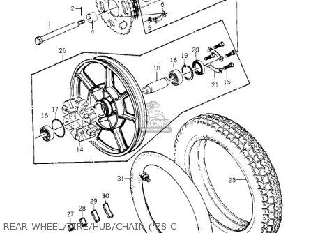 Kawasaki Kz1000-c4 Police1000 1981 Rear Wheel tire hub chain 78 C