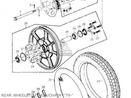 Kawasaki Kz1000-c4 Police1000 1981 Rear Wheel tire hub chain 79-