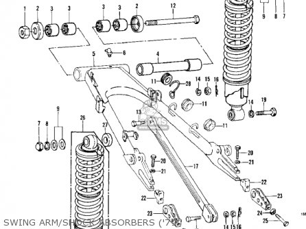 Kawasaki Kz1000-c4 Police1000 1981 Swing Arm shock Absorbers 79-